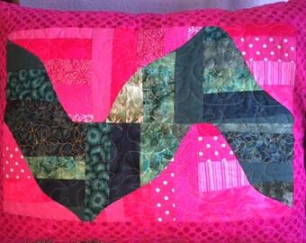 Hot Pink & Green Polka-dotted Zippered Pillowcase
