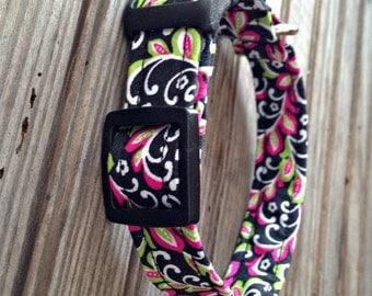 Dog Collar, Fabric Dog Collar, Black + Pink Floral Print Dog Collar, Pet Collar, Floral Print Dog Collar