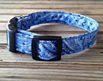 Fabric Dog Collar, Blue Paisley Bandana Print Dog Collar, Blue Print Dog Collar, Pet Collar