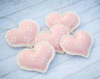 Valentines gift Pink hearts Valentine decor Baby mobile Christmas ornament Felt heart Gift for her Gift for girlfriend Cute ornaments