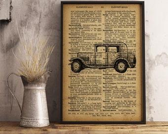 Retro Car Print Vintage Car Decor, Garage Wall Art, Gift for him, Gift for mechanic, Vintage Car Poster, Automobile wall art gift idea (C04)