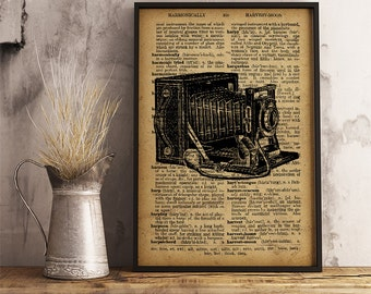 Vintage camera print, Vintage style dictionary print, Camera poster, Vintage Camera wall art, antique camera photographer gift (V06)