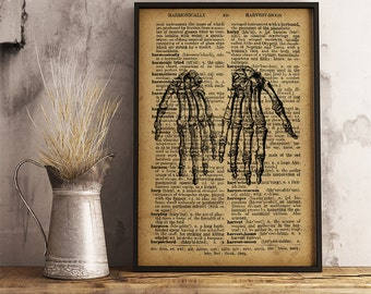 Human Anatomy Hands Print, Medical Poster, Gift for a medical student or for Orthopedic surgeon gift, Anatomy Print, Skeleton hands  (HA14)