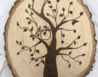 Tree and Moon Woodburning