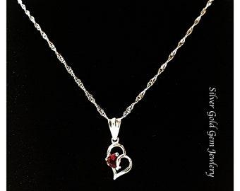 Delicate Swing Sterling Silver Garnet Heart