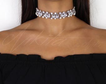 Pearl Rhinestone Choker Necklace