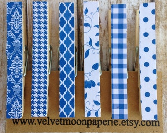 French Country Blue Decorative Clothespins/Cottage Style Clothes Pins/Memo Clips/Cottage Blue Chip Clips/Decorative Clips/Set of 6