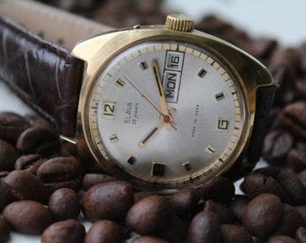 Gold plated Soviet watch, Mens watch, SLAVA, vintage mechanical watch, Wrist watch USSR, AU10, Working.