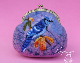 Jay. Purple Purse. Felted wool clutch. Felted wool bag. Felted wool purse. Clutch.Bag. Kiss Lock Purse. Wool purse. Felt handbag