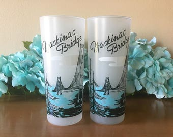 Mackinac Bridge Frosted Souvenir Glass Tumbler - Set of 2