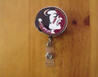 NCAA FSU Florida State Seminoles Retractable Reel ID Badge Lanyard Clip Nursing Scrubs