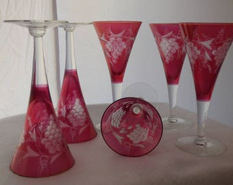 Etched Cranberry Wine Glasses