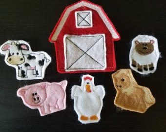 Felt Finger Puppets - Farm Animal Finger Puppets - Montessori Toys - Waldorf Toys - Imaginative Play - Farm Play Set - Animal Toys