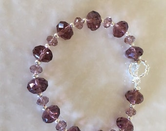 Wine Colored Gemstones and Silver Toned Beaded Bracelet