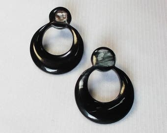 Buffalo horn earrings  - Beautiful black horn earrings KAI-2687