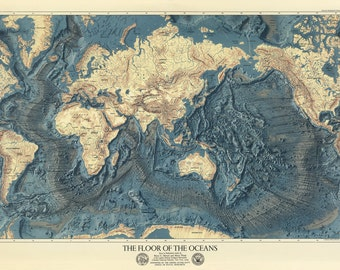 Ocean floor map | Etsy