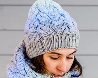 Ombré Knit Hat | Gradient hat | Knit Beanie | Knit Cap | Winter Hat | Autumn Hat | Merino wool accessories