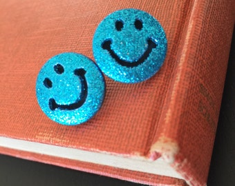 Smiley Face, Smiley Face Earrings, Turquois Glitter Earrings, Button Earrings