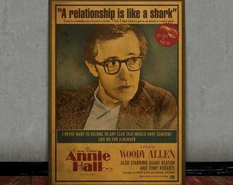 Annie Hall, Woody Allen, Colored retro classic movie poster