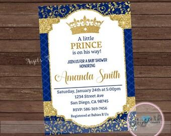 Little Prince Baby Shower Invitation, Prince Baby Shower Invitation, Prince Baby Shower, Royal Blue Prince Baby Shower, Digital File
