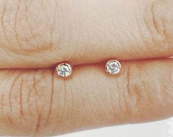 Diamond Solitaire Earrings, Minimalist Earrings, Brilliant Cut 0.22 Ct. (0.11 Ct x 2), Dainty Diamond Bezel Set Earrings
