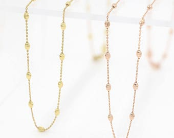 14K Solid Gold Chains Gold Beaded Chain Necklace Gold Chain Necklace Gold Sterllite Chain Beaded Necklace