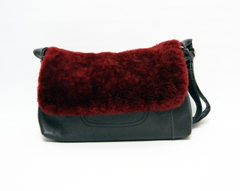 Be - bag recycled leather and Sheepskin flap shoulder bag