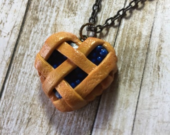 Heart Shaped Blueberry Pie Necklace
