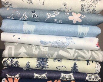 Woodland Critters Custom Curated Fat Quarter Bundle ~ Blue, Grey and Navy Fabric Bundle ~ Woodland Animal Fabric ~ Weave & Woven