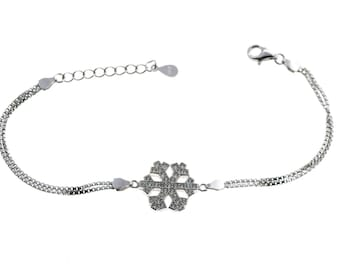 Bracelet in glove with the central heart zirconate length 16 cm adjustable up to 20 cm 925 sterling silver plated white gold