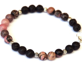 Rhodonite and Lava bracelet - Pink and black gemstones - silver wire bracelet