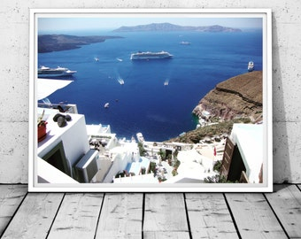 Santorini Print Greece photography Sea Print Mediterranean wall decor island Print Coastal Photography Santorini wall art digital print