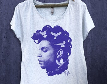 Prince Inspired Tribute Doves Dolman T-shirt- Shirt-Tee-Graphic-RIP
