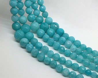 "16""Full Strand 6-14mm Blue Jade Graduated Faceted Round Beads, Wholesale Graduated Necklace"