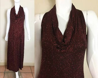 90s Vintage Crimson Red Metallic Glam Clubwear Maxi Dress S/M