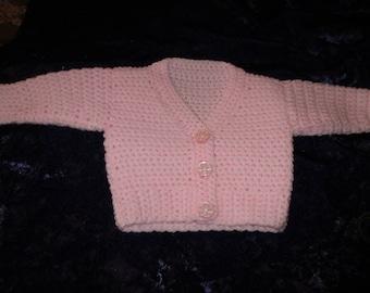 Hand crocheted pink cardigan 16 inch