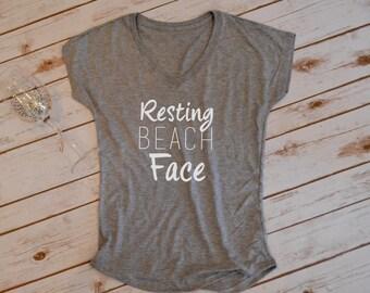 Resting Beach Face Tshirt- Summer tshirt- beach tshirt- vacation tshirt- beachwear-