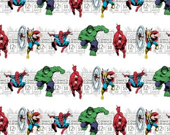 Marvel Fabric - Camelot Marvel Comics Price & Hero Stripe in White 100% cotton Fabric by the yard, D216