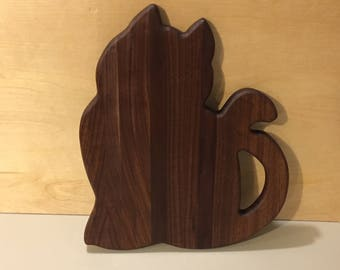 "Cat shaped walnut Cutting Board,FREE SHIPPING-12""x14""x~1"" CBA-1070"