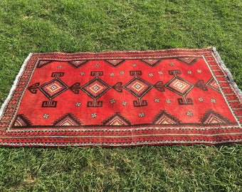 "Persian Hand-Knotted Lori Rug (Red, Brown, Cream) 204cm x 143cm (6'7"" x 4'7"")"