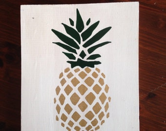 Hand painted wooden Pineapple sign