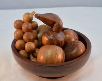 Vintage Wooden fruit bowl/ Hand Craved wooden Fruits