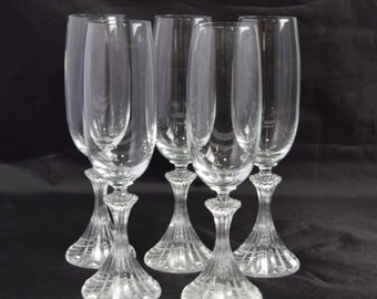 Set of 5 Ritz Mikasa Champagne Flutes/Fluted Champagne Glass/Vintage Glassware