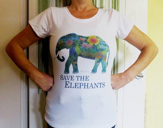 "Damen T-Shirt Elefant - ""Save the elephants"""