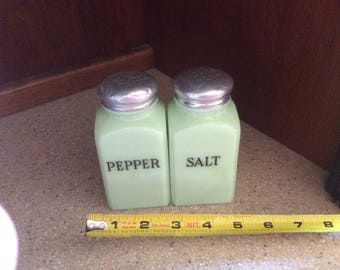 Antique mcKee jadeite salt and pepper shakers