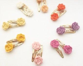 Flower Snap Clip - Boho Baby Clip - Felt Flower - Handmade Hair Accessory - Boho Hair - Snap Clip Set -