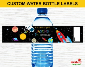 Space Water Bottle Labels, Outer Space Birthday Water Bottle Labels, Personalized Water Bottle Labels, Rocket Ship Party Decoration