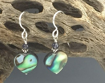 Abalone, sterling silver and iolite earrings