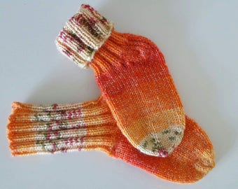 Children's hand knitted socks