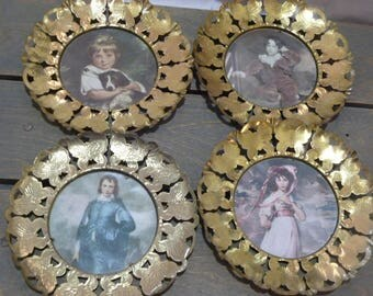 Vintage Blue Boy and Friends Prints in Brass Butterfly Frames (Set of 4)